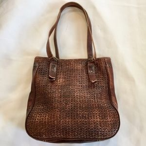 Bed Stu Distressed Leather & Woven Tote